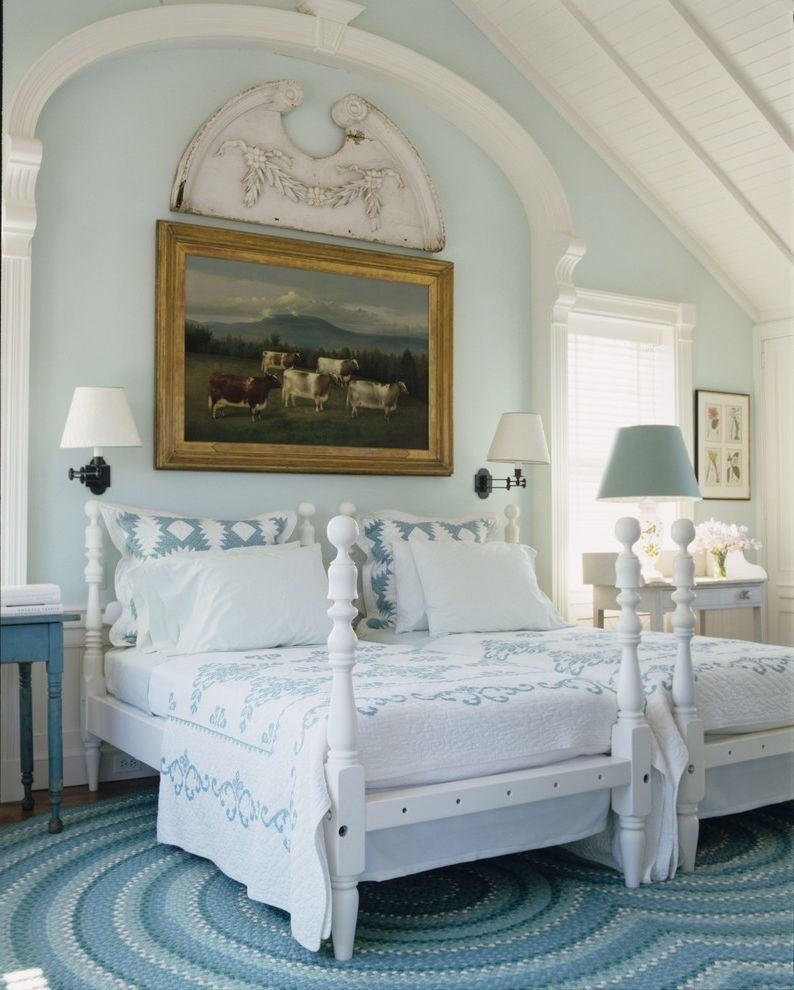 Ez Bed Twin With Beach Style Bedroom Also Blue Area Rug Country Four Poster Framed Art Nautical Beds Wall Lights White