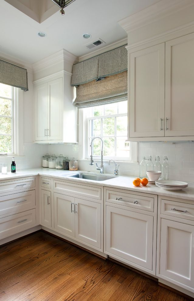 Fabric Stores Charlotte Nc with Traditional Kitchen Also Faucet Shaker Kitchen Stone Countertop White Kitchen White Kitchen Cabinet Window Treatment Wood Floor