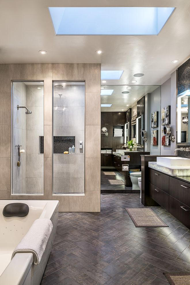 Factory Direct Floor San Leandro Ca with Contemporary Bathroom  and Herringbone Tile Floor Interior Window Los Altos Master Suite Mirror Wall Recessed Lighting Residence Romantic Skylight Wall Mounted Faucet Warm Tone Window Into Shower