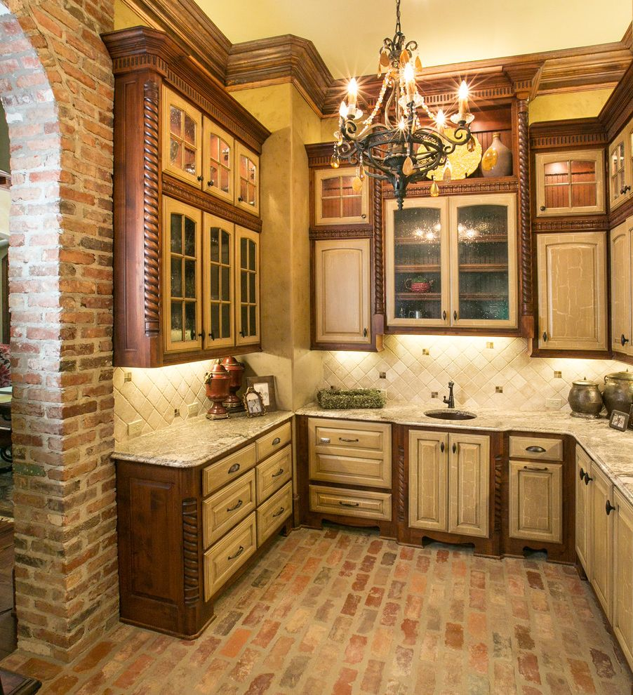 Factory Direct Floor San Leandro Ca with Mediterranean Kitchen Also Beaded Glass Brick Arches Brick Floor Carved Wood Chandelier Cornice Crown Molding Fluted Wood Raised Panel Woodwork Tile Back Splash
