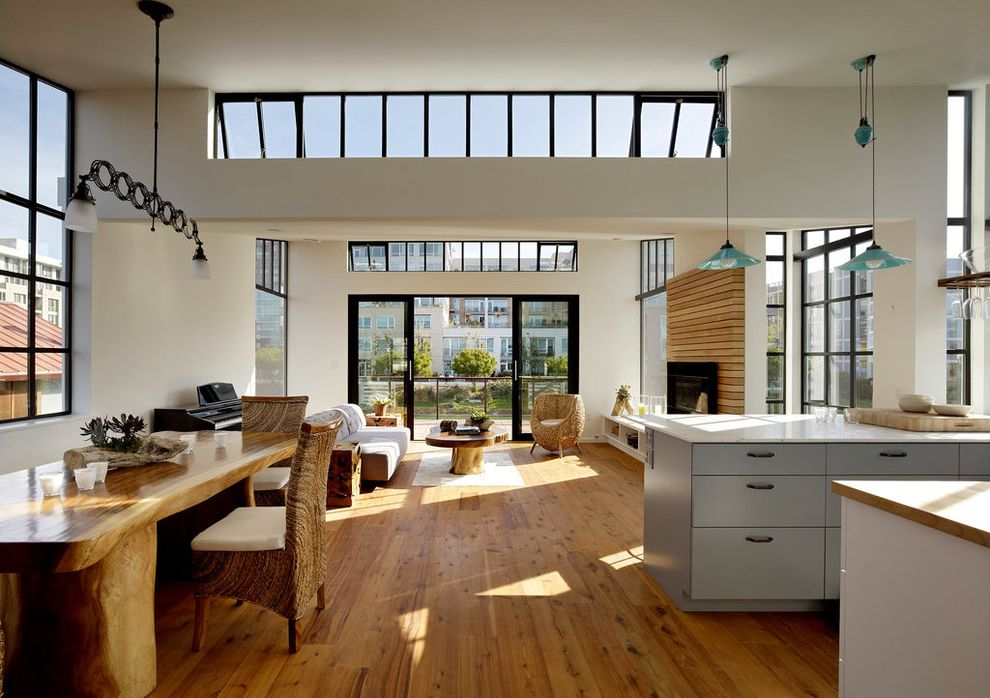 Factory Direct Floor San Leandro Ca with Modern Living Room  and Awning Windows Clerestory Contemporary House Fireplace Great Room Green Architecture High Windows Live Edge Wood Table Natural Daylight Natural Ventilation Passive Cooling Wood Floors