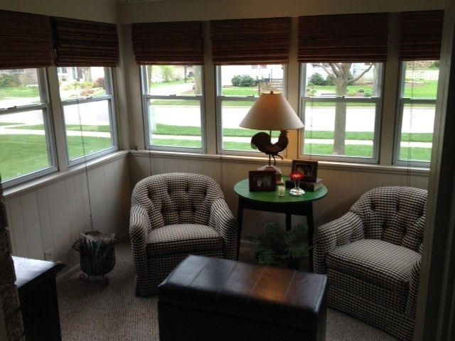 Fagans Furniture with Traditional Porch Also Cottage Grand Haven Small 3 Season Porch Wood Panel Wall Woven Shades
