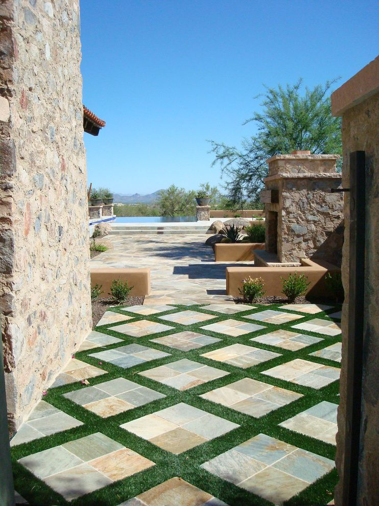 Fake Grass for Dogs   Mediterranean Patio Also Desert View Diamond Pattern Garden Walls Grass Pool Sitting Walls Slate Stone Facade Stone Tile Stone Walls Stucco