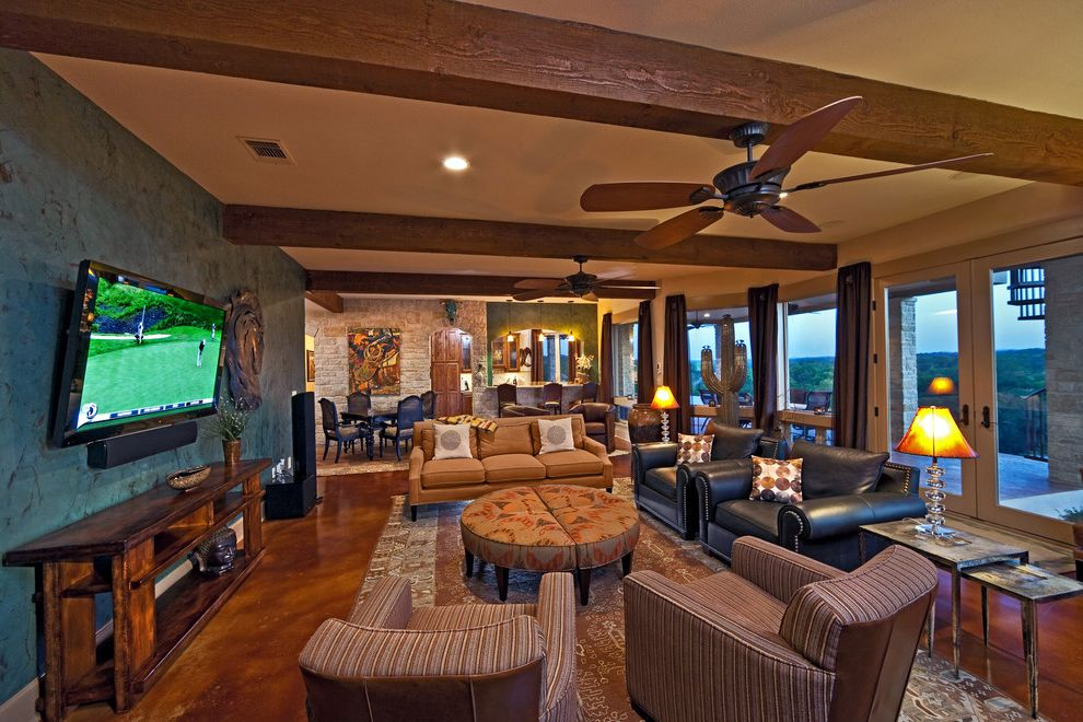 Family Leisure Indianapolis with Rustic Family Room Also Beige Couch Black Couch Cactus Ceiling Beam Ceiling Fan Dark Drapes French Doors Large Rug Leather Couch Recessed Lighting Rustic Furniture Sectional Ottoman