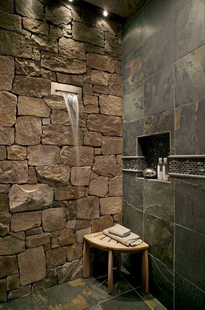 Fantini Faucets   Rustic Bathroom Also Corner Bench Fountain Mosaic Tile Niche Rough Slate Smooth Stone Wall Tile Wall Water Feature