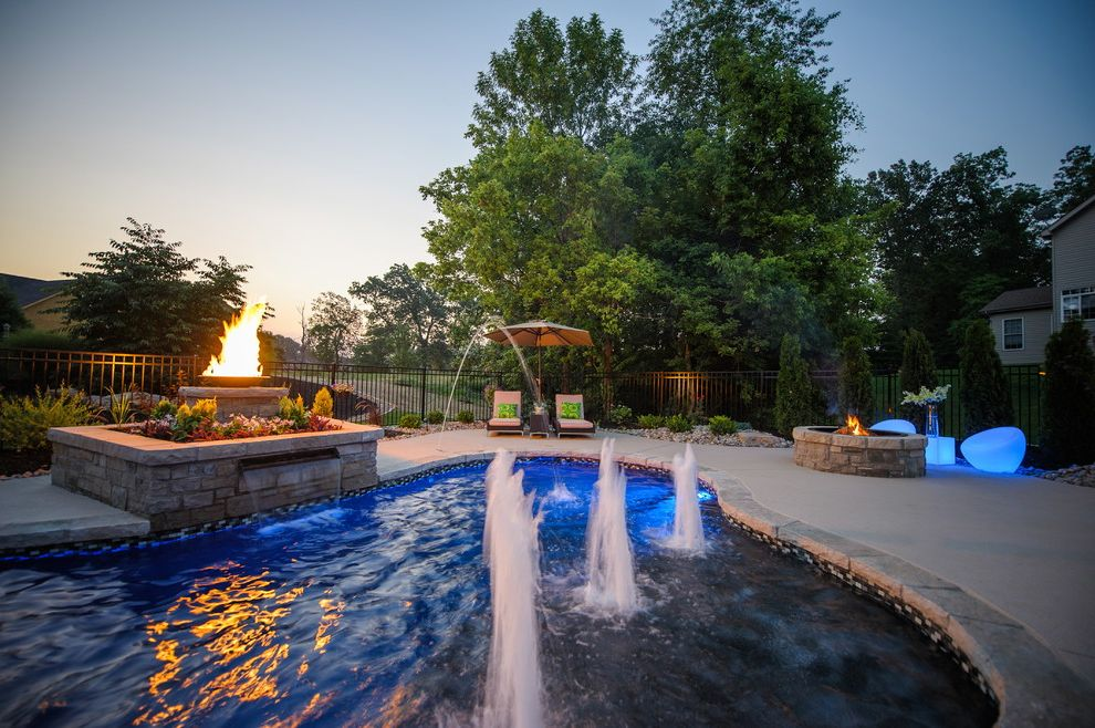 Far Oaks Golf Course   Eclectic Pool Also Bubblers Concrete Pool Fire Pit Fountains Gunite Pool Landscaping Lighting Masonry Natural Stone Edging Patio Furniture Stone Fire Basin Sun Deck Water Feature