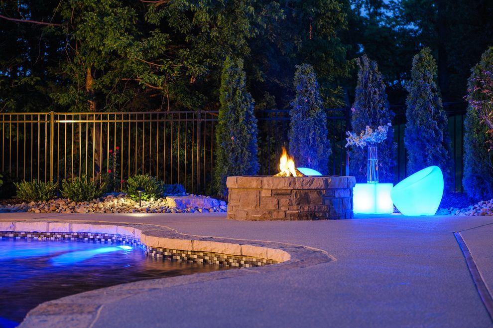 Far Oaks Golf Course   Eclectic Pool Also Concrete Cool Decking Concrete Pool Fire Pit Gunite Pool Landscaping Masonry Natural Stone Coping Patio Furniture Stone Sun Deck Tile