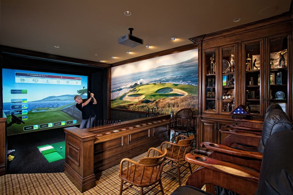 Far Oaks Golf Course   Mediterranean Home Theater  and Carpet Carpet Pattern Carved Wood Ceiling Lighting Cup Holder Full Swing Golf Simulator Leather Armchairs Neutral Colors Projection Screen Projector Wall Art Wood Cabinetry Wood Cabinets Wood Chairs