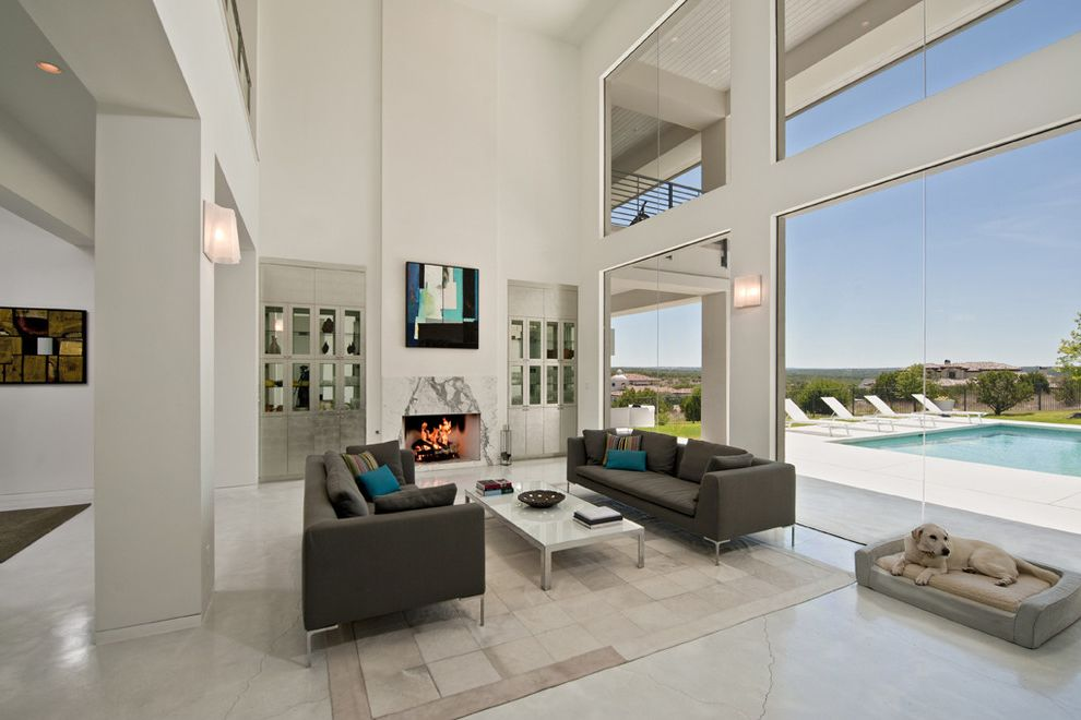 Far Oaks Golf Course with Contemporary Living Room  and Bookcases Built in Coastal Contemporary Dog Fireplace Hill Country Mantel Open Patio Pet Pool Stained Concrete Vaulted Ceiling White