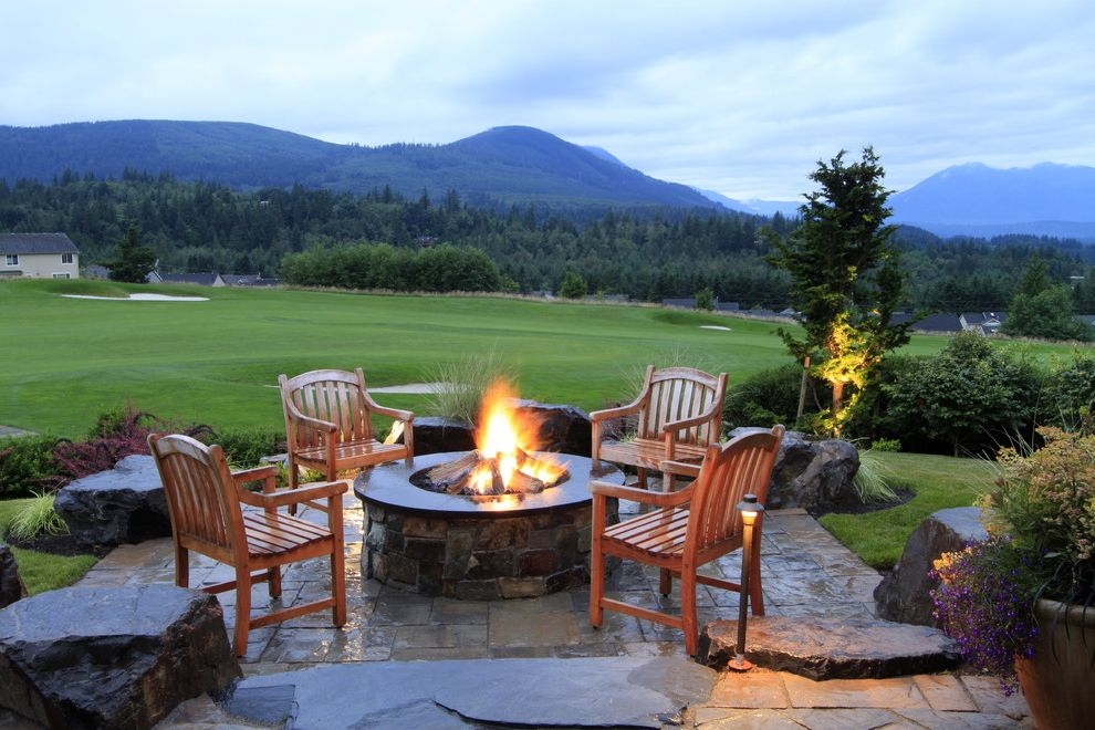 Far Oaks Golf Course with Traditional Patio  and Accent Lighting Boulders Built in Fire Pit Fire Pit Golf Course Grass Lawn Mountains Outdoor Lighting Outdoor Potted Plant Rock Landscape Stone Fire Pit Stone Patio Tall Grass Trees View