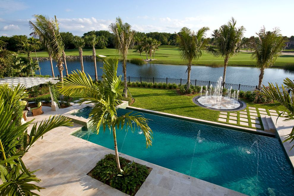 Far Oaks Golf Course with Traditional Pool Also Back Deck Balcony View Detailing Exterior Fountain Golf Course Interior Design Landscape London Bay Homes Outdoor Palm Tree Pergola Pool Pool Deck Romanza Second Story Balcony Spa Trellis