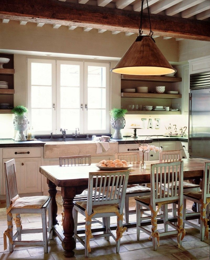 Farm Tables for Sale   Farmhouse Kitchen Also Brick Floor Ceiling Light Cottage Farm Sink Farmhouse French Windows Open Shelves Rustic Rustic Cabinets Rustic Table Terra Cotta Wood Beam Wood Chair Wood Table