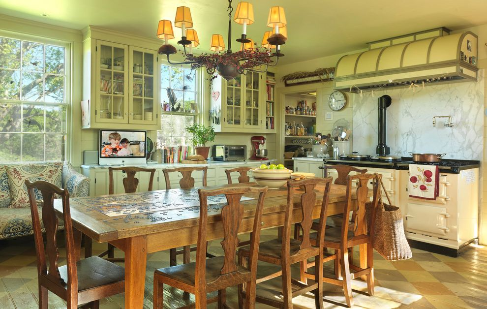 Farm Tables for Sale   Farmhouse Kitchen  and Aga Antiques Chandelier Dining Family Farm House Farm Table Glass Front Cabinets Hood Marble Painted Floor Tile Floor
