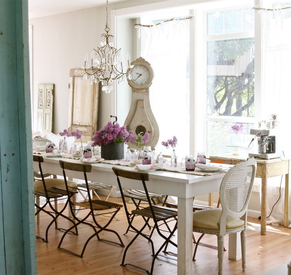 Farm Tables for Sale with Shabby Chic Style Dining Room Also Bistro Chairs Crystal Chandelier Farmhouse Table Flea Market French Chair Grandfather Clock Lilacs Rustic Shabby Chic Table Arrangement Tablescape White Dining Table
