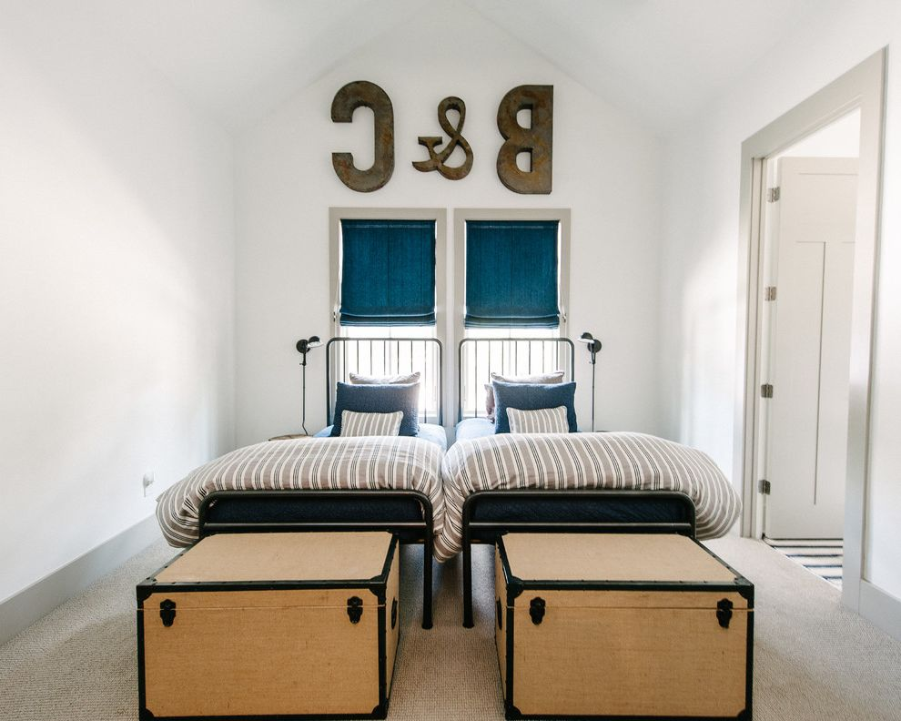 Farmhouse Bedding Sets   Contemporary Kids  and Blue Roman Shades End of Bed Chests Gray Carpeting Gray Casing Gray Trim Iron Beds Striped Duvet Two Twin Beds Vaulted Ceiling Wall Letters White Walls