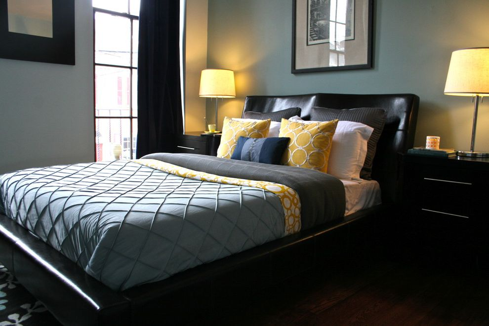 Farmhouse Bedding Sets with Contemporary Bedroom Also Antique Bedside Table Black Bed Blue Duvet Blue Wall Chrome Base Lamp Curtains Drapes Leather Headboard Nightstand Platform Beds Table Lamp Wall Art Wall Decor Window Treatments