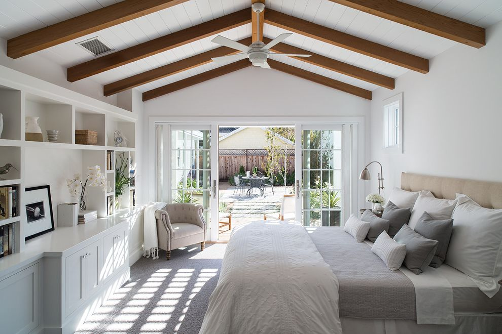 Farmhouse Bedding Sets With Bedroom And Built In Shelving Ceiling Fan Contemporary Farm House Exposed Beams Indoor Outdoor