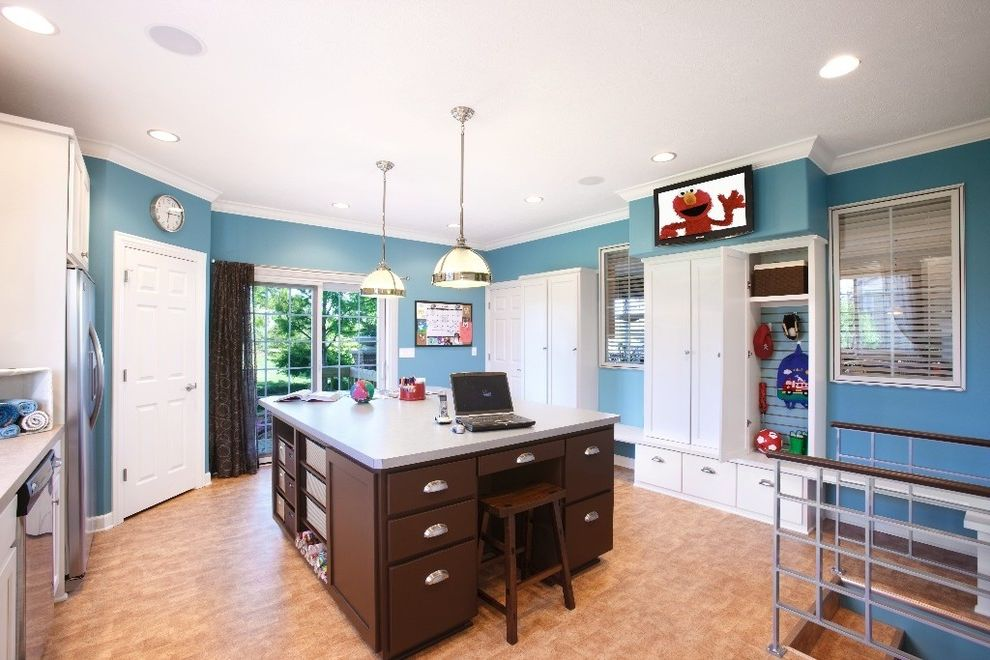 Fashion Island Pet Store   Modern Laundry Room  and Blue Walls Built in Cabinets Built in Storage Ceiling Lighting Entrance Entry Island Island Lighting Mudroom Pendant Lighting Recessed Lighting Stainless Steel Appliances White Wood Wood Trim