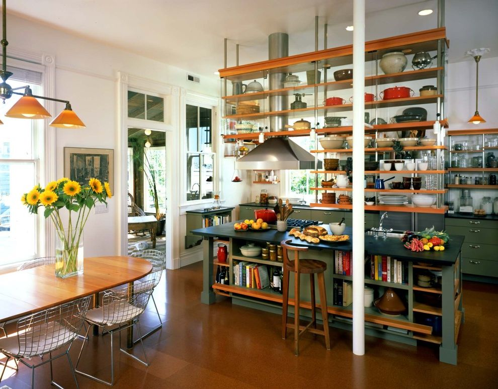 Fashion Island Pet Store with Industrial Kitchen  and Barstool Chair Dining Table Green Green Kitchen Island Kitchen Island Open Shelves Oval Table Pendant Light Stool Suspended Shelves