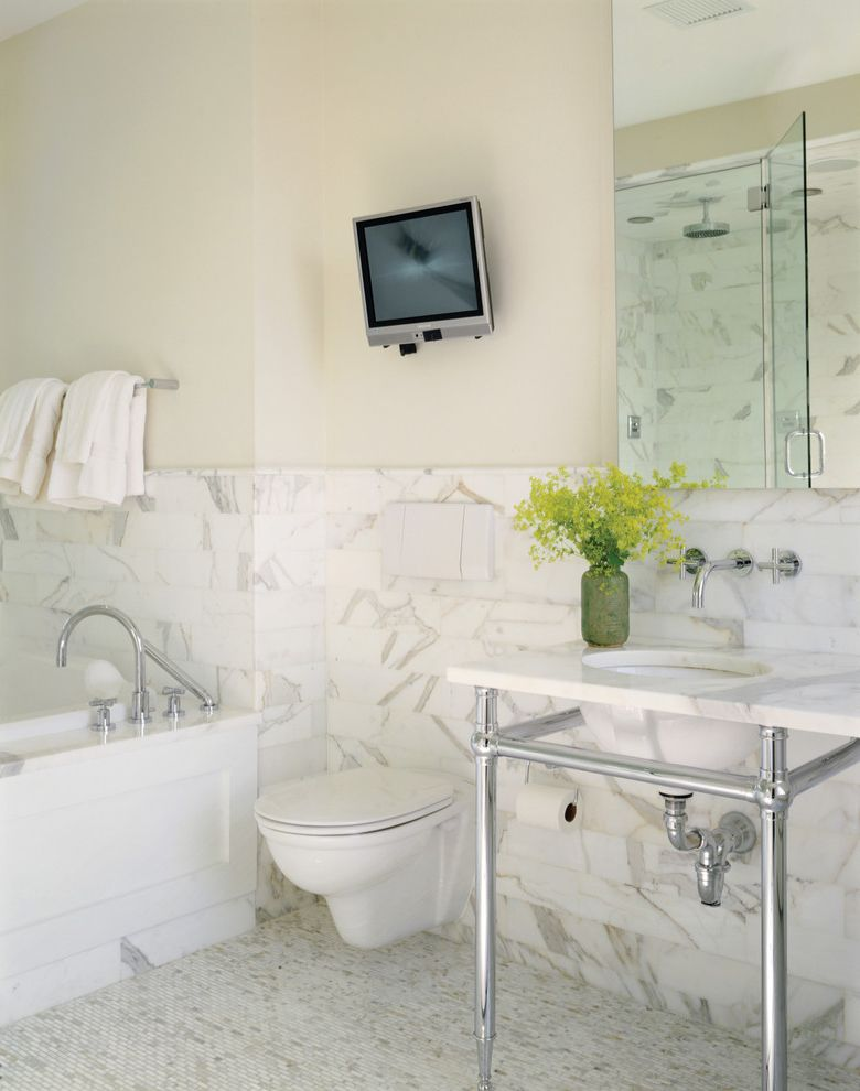 Faucet Definition with Contemporary Bathroom  and Bathroom Mirror Bathroom Tile Bathroom Tv Floor Tile Floral Arrangement Marble Mosaic Tile Wainscoting Wall Mount Faucet Wall Mount Toilet Washstand White Bathroom