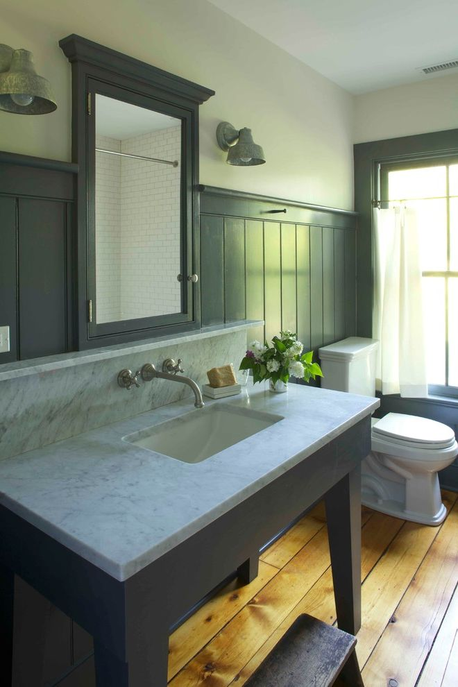 Faucet Definition with Farmhouse Bathroom  and Beadboard Galvanized Iron Sconces Marble Counter Recessed Mirror Cabinet Step Stool Wainscot Wood Floor