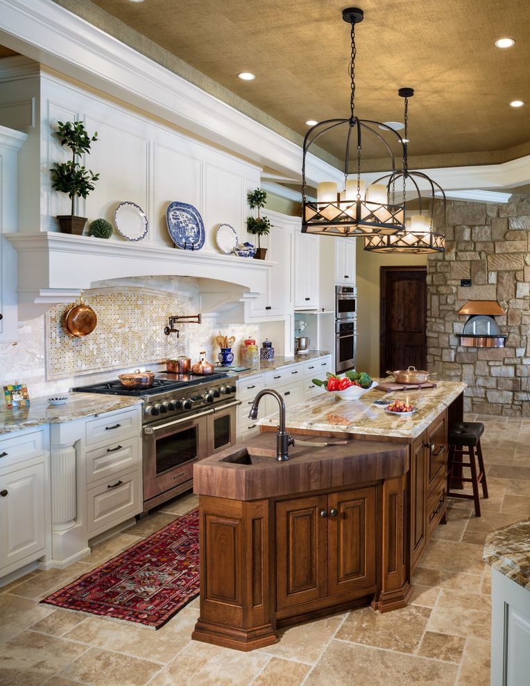 Faucets Galore   Eclectic Kitchen  and Carved Wood Ceiling Treatment Earth Tones Integrated Hood Island Storage Ledge Long Area Rug Neutral Colors Pendant Lighting Pot Filler Prep Sink Recessed Lighting Tile Floor Tray Ceiling Wood Island