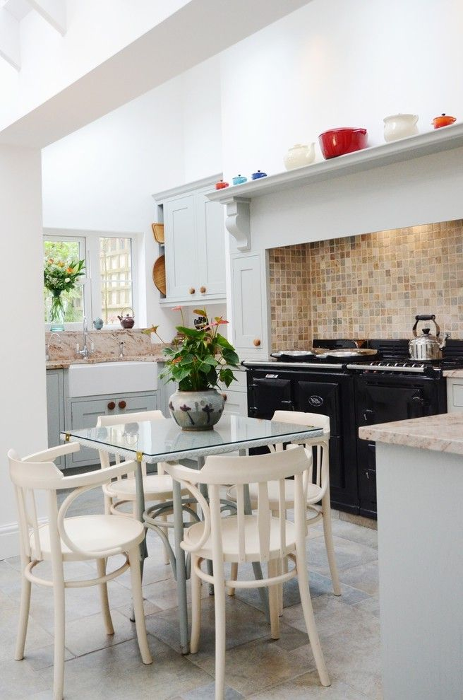 Faux Chimney   Traditional Kitchen Also Aga Aga Over Mantel Apron Sink Backsplash Black Blue Grey Corbel Farrow and Ball Floor Tiles Gray Tile Floor in Frame Kitchen Light Light and Airy Seating in Kitchen Shelf