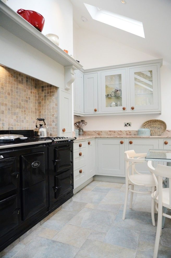 Faux Chimney   Traditional Kitchen Also Aga Aga Over Mantel Backsplash Blue Grey Corbel Eat in Kitchen Farrow and Ball Floor Tiles Glass Wall Cabinets Hood in Frame Kitchen Light Light and Airy Seating in Kitchen Shelf Tile Floor