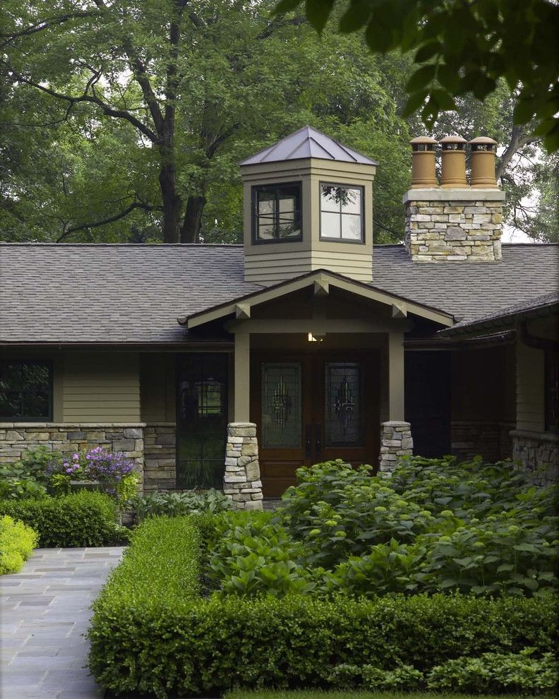 Faux Chimney with Traditional Exterior  and Chimney Pots Columns Craftsman Cupola Lake House Michigan Stone West Bloomfield