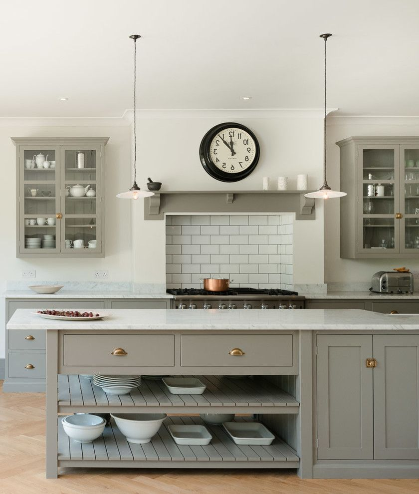 Faux Chimney with Transitional Kitchen  and Beautiul British Cirttall Colour Cupboards Design Grey Handmade Island Kitchen Pantry Shaker Simple Understated Windows
