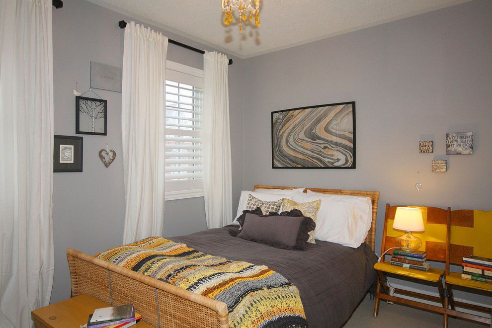 Faux Wood Blinds Lowes with Eclectic Bedroom  and Art Bed Bedding Belle Notte Blanket Chair Curtain Rods Curtains Eclectic Gray Grey Guest Ikea Knit Lamp Modern Pillows Room Shutters Side Table Walls Wicker Wood Yellow