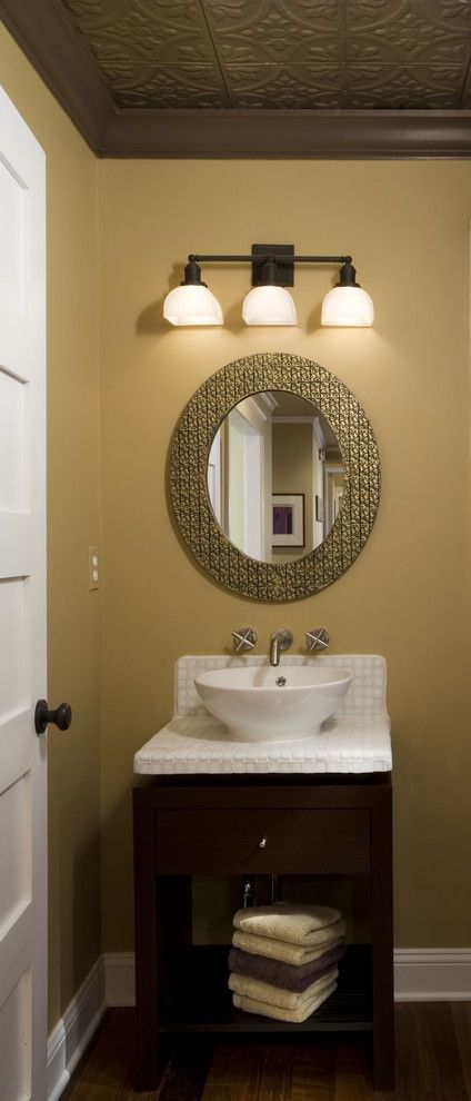 Feiss Mirrors   Contemporary Bathroom Also Crown Moulding Glass Tile Oceanside Glass Oval Mirror Powder Room Recycled Glass Renovation Shaker Tile Tin Ceiling Vanity Vessel Sink