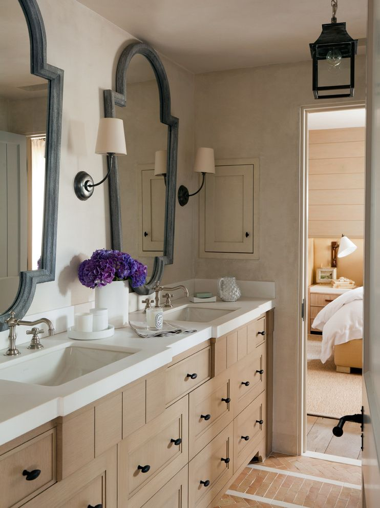 Feiss Mirrors   Mediterranean Bathroom  and Double Vanity Framed Mirror Pendant Lantern Sconces Two Sinks White Countertop