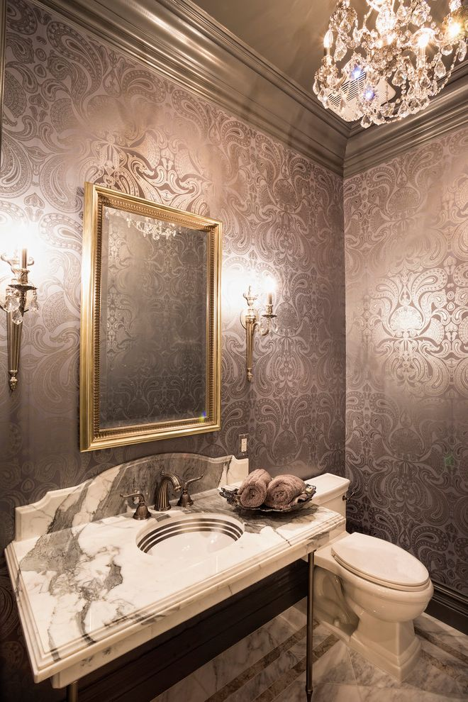 Feiss Mirrors   Victorian Powder Room  and Beaded Sconces Beveled Edge Gold Mirror Frame Gray Crown Molding Gray Wallpaper Marble Patterned Wallpaper Shiny Wallpaper Sink Stand Thick Molding Torchieres Two Handle Faucet Wall Sconces