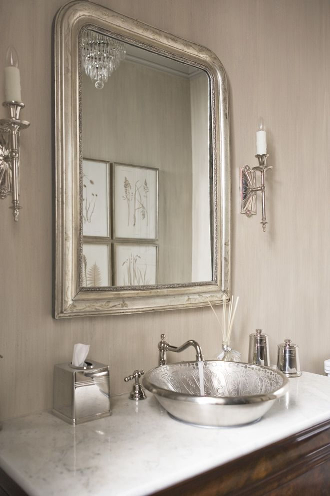 Feiss Mirrors with Transitional Powder Room  and Chandelier Crystal Chandelier Elegant Silver Silver Mirror Silver Sink Wallpaper White Wood Wood Vanity