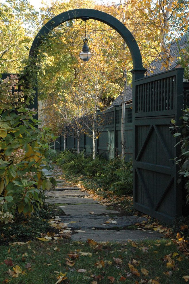 Fence Companies in Nh with Traditional Landscape Also Archway Grass Lanterns Lattice Lawn Outdoor Lighting Path Pavers Stone Paving Turf Walkway Wood Fencing Wooden Gate