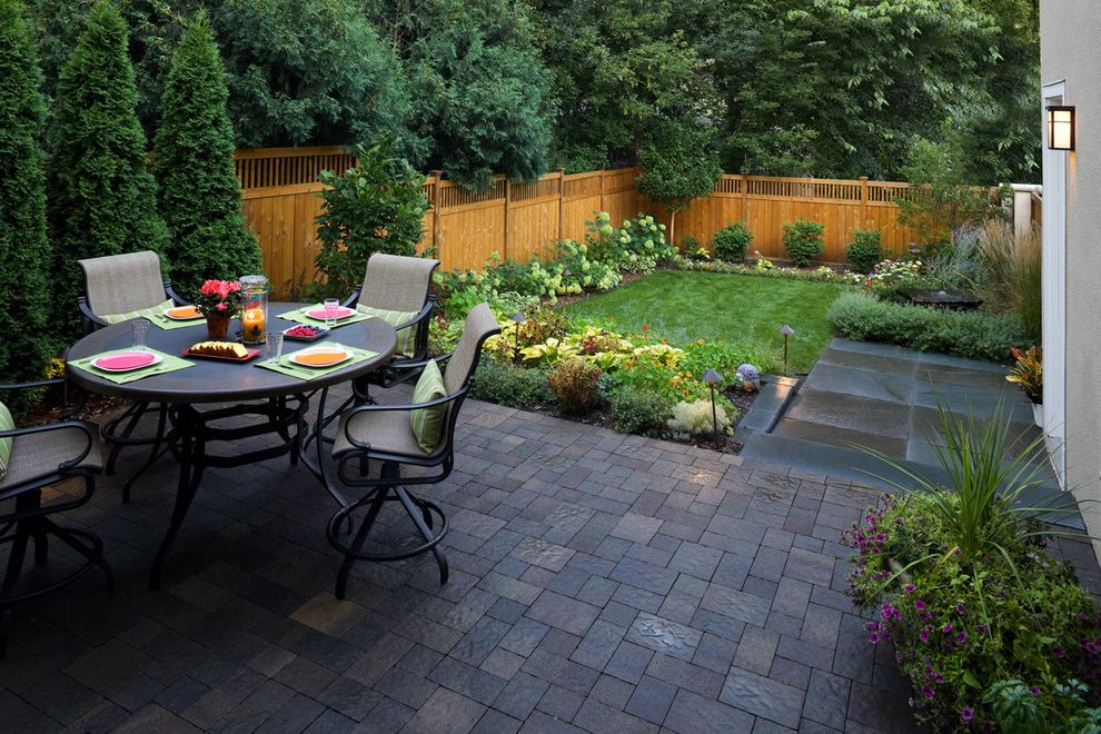 Fence Company Charleston Sc   Contemporary Patio  and Backyard Dining Table Fence Grass Landscape Lighting Landscaping Lawn New York Blue Stone Patio Pavers Pondless Fountain Small Urban Yard Wall Sconce