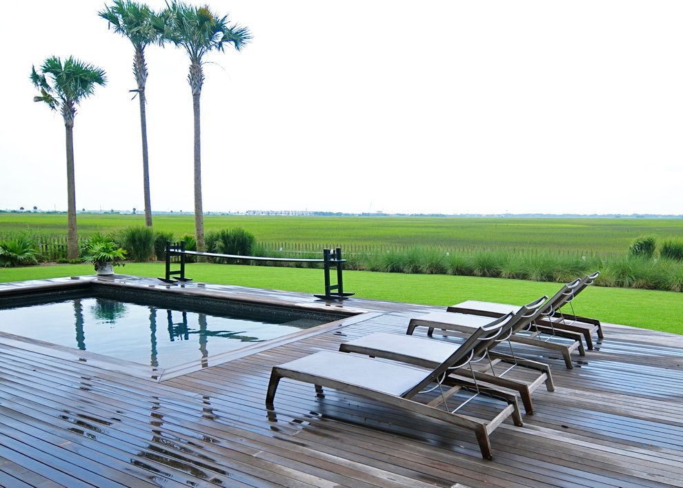 Fence Company Charleston Sc   Traditional Pool  and Chaise Lounge Coast Container Plant Deck Grass Lawn Palm Tree Picket Fence Pool Potted Plant Turf Wood Bench Wood Fence Wood Flooring