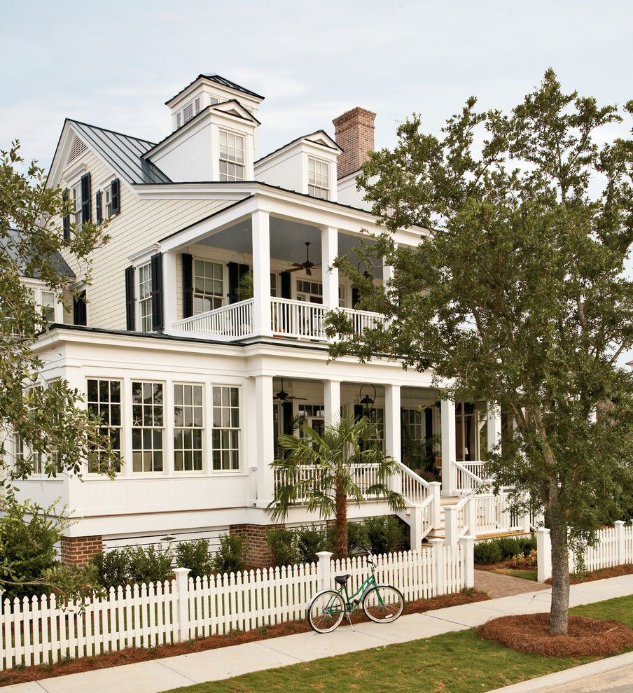 Fence Company Charleston Sc with Traditional Exterior Also Black Shutters Cottage French Windows Front Entrance Landscape Picket Fence Porch Shutters Tropical Victorian House White Fence