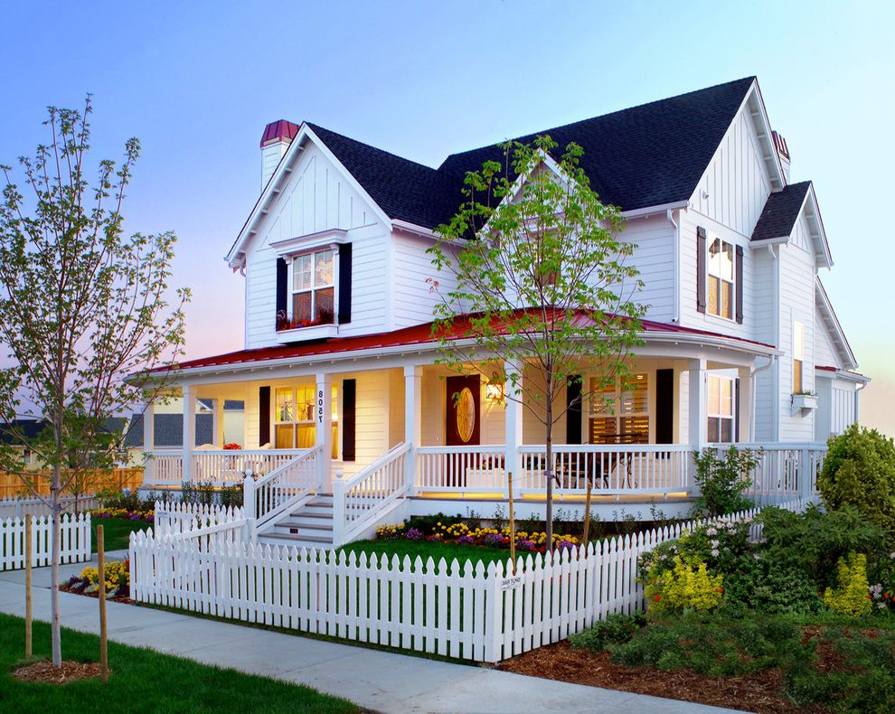 Fence Repair Denver with Farmhouse Exterior  and Board and Batten Chimney Curb Appeal Farmhouse Front Porch Front Yard Gables House Numbers Metal Roof Pitched Roof Red Accents Shingles Shingls White Picket Fence Widowbox Wood Railings