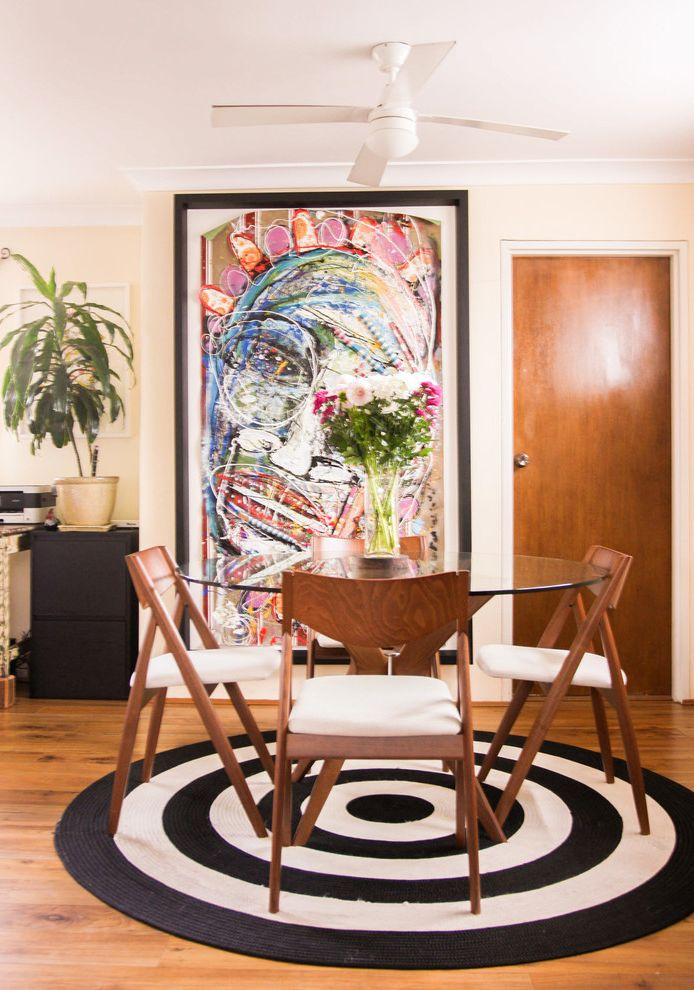 Ferguson Plumbing Locations   Eclectic Dining Room Also Black and White Circular Rug Contemporary Artwork Contemporary Furntiure Indoor Outdoor Plant Open Plan Living