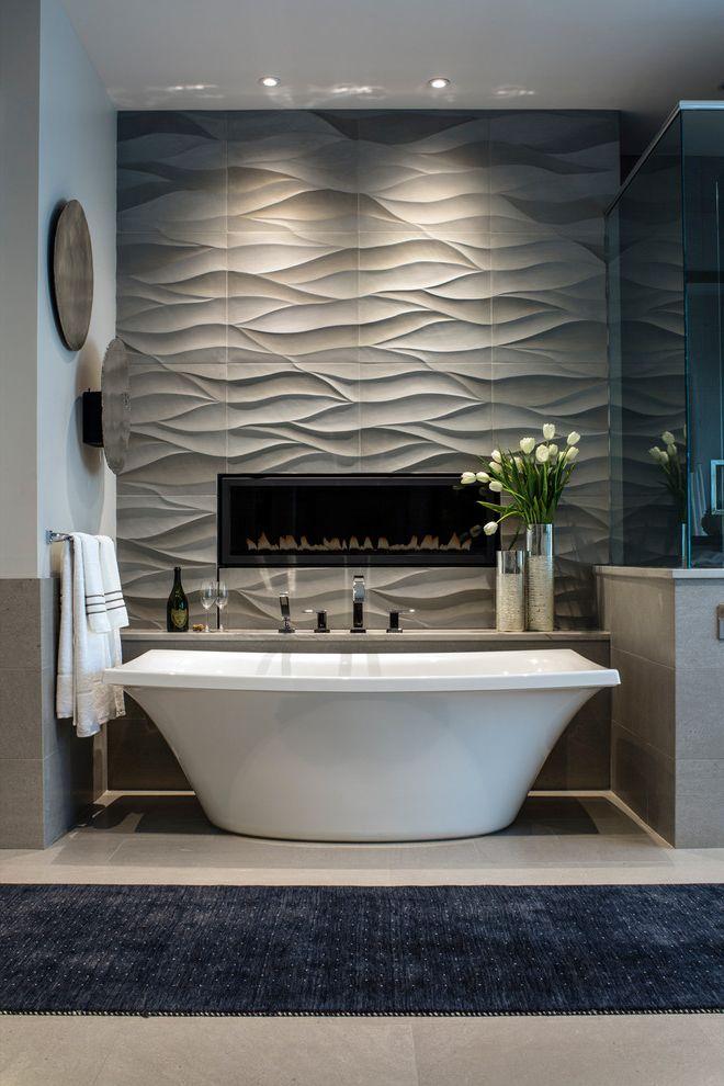 Ferguson Plumbing Locations with Contemporary Bathroom  and Beige Floor Tile Blue Runner Custom Fireplace Gray Tile Textured Tile
