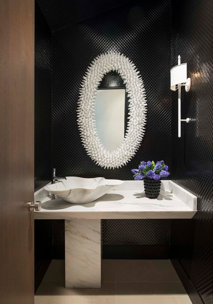 Ferguson Plumbing Orlando with Contemporary Powder Room  and Black Lacquer Wallpaper Mirror Powder Bath Sconce Single Handle Faucet Vanity Vessel Sink White