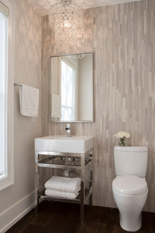 Ferguson Plumbing Orlando with Transitional Powder Room Also Accent Wall Framed Mirror Glass Link Chandelier Glass Pendant Light Single Handle Faucet Stainless Steel Faucet Tile Wall