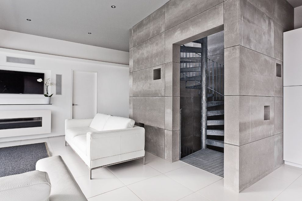 Fiber Cement Siding Options   Contemporary Living Room Also Accent Wall Ar Andy Ramus Lighthouse Award Riba Concrete Wall Gray Rug Modern Fireplace Spiral Staircase Staircase Wall Mounted Tv White White Sofa White Tile Floor