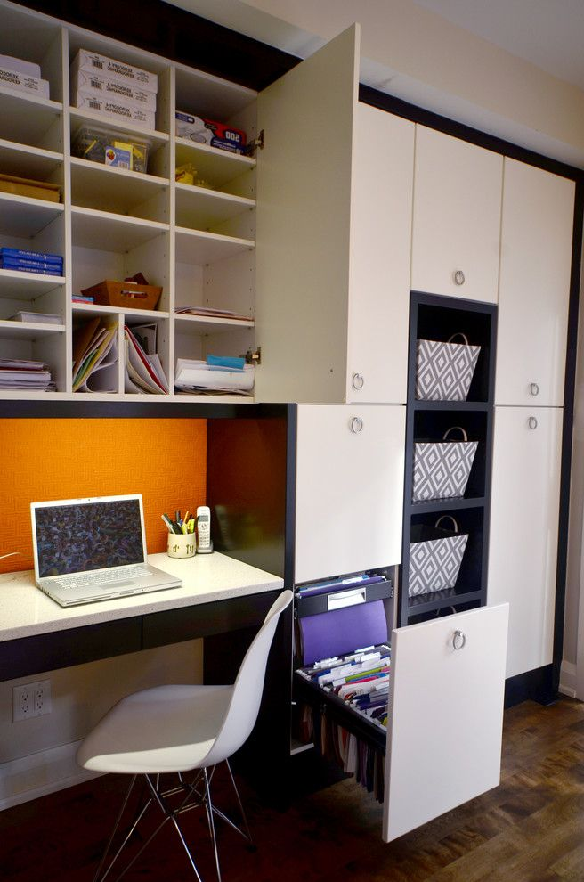 Filing Cabinets Target with Contemporary Home Office  and Basket Beige Cabinets Bin Built in Cabinets Built in Cubbies Built in Desk Built in File Cabinet Built in Office Storage Dark Wood Floor Orange Backsplash Under Cabinet Lighting White Chair