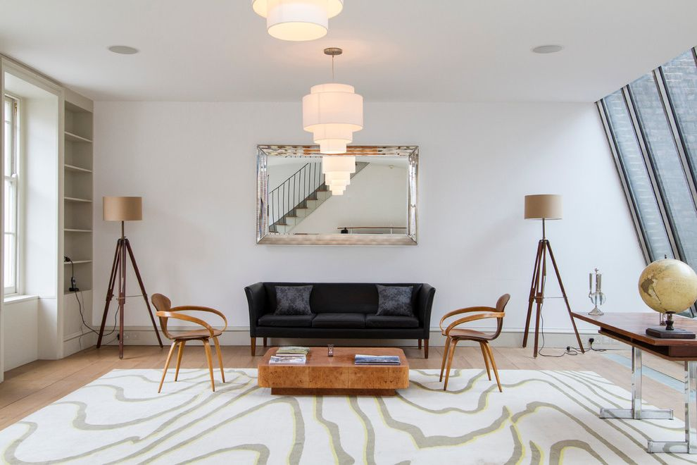Fillable Lamp Base with Midcentury Living Room Also Black Couch Built in Shelves Chandelier Desk Floor Lamp Large Mirror Low Coffee Table Open Space Pendant Lighting Rug Tripod Floor Lamp Wood Chair Wood Floor