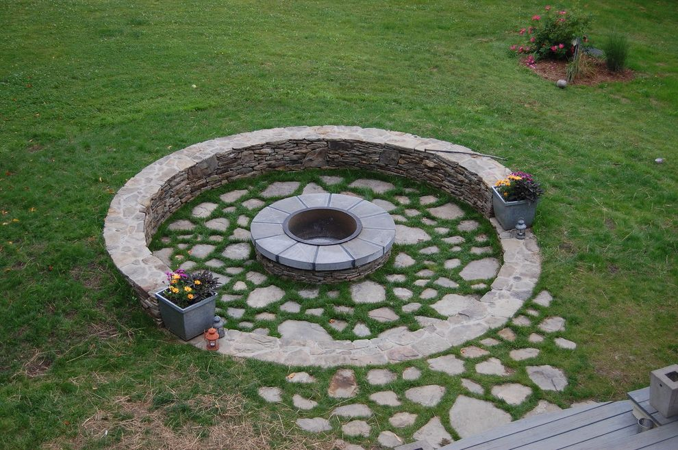 Fire Pit Covers Round Metal   Traditional Landscape  and Circle Fire Pit Patio Round Round Fire Pit Round Patio Stone Stone Wall