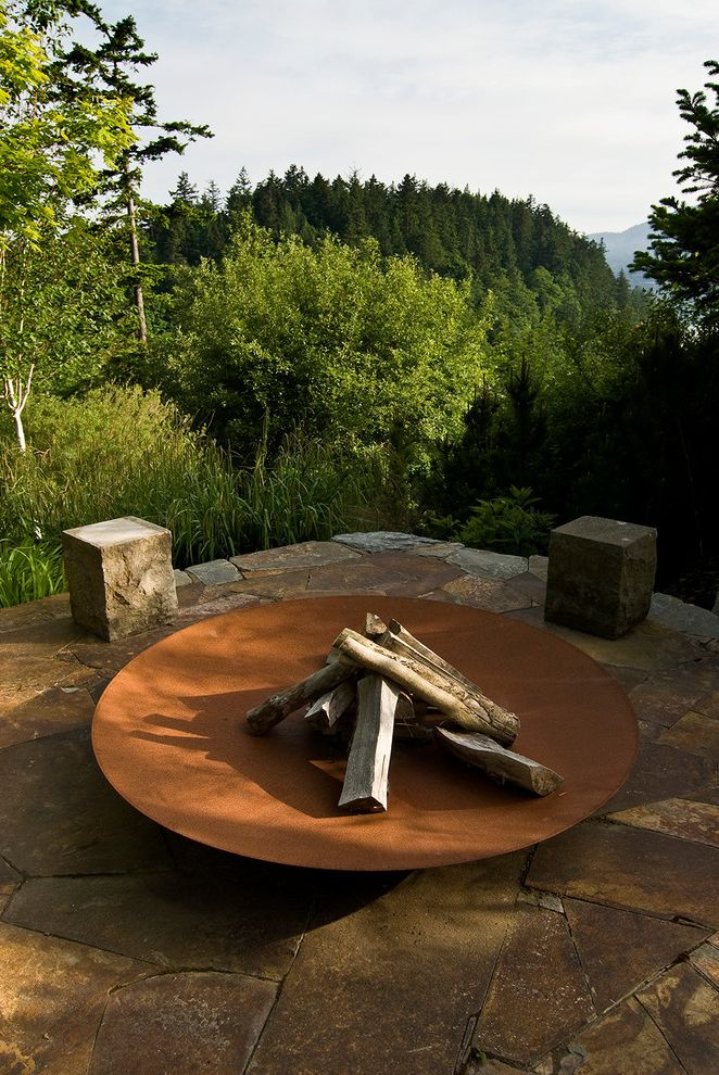 Fire Pit Covers Round Metal with Traditional Landscape  and Fire Bowl Fire Feature Fire Pit Flagstone Forest Hill Mountains Outdoor Fire Patio Terrace