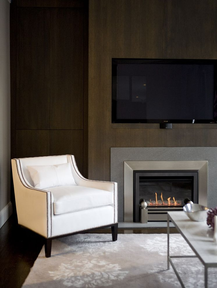 Fireplace Facing Kits   Contemporary Living Room  and Accent Wall Built in Elegant Fireplace Glam Gray Modern Fireplace Rug White Leather